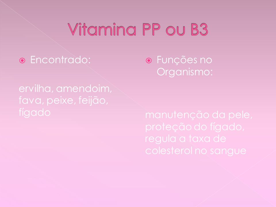 Vitamina PP ou B3 Encontrado: