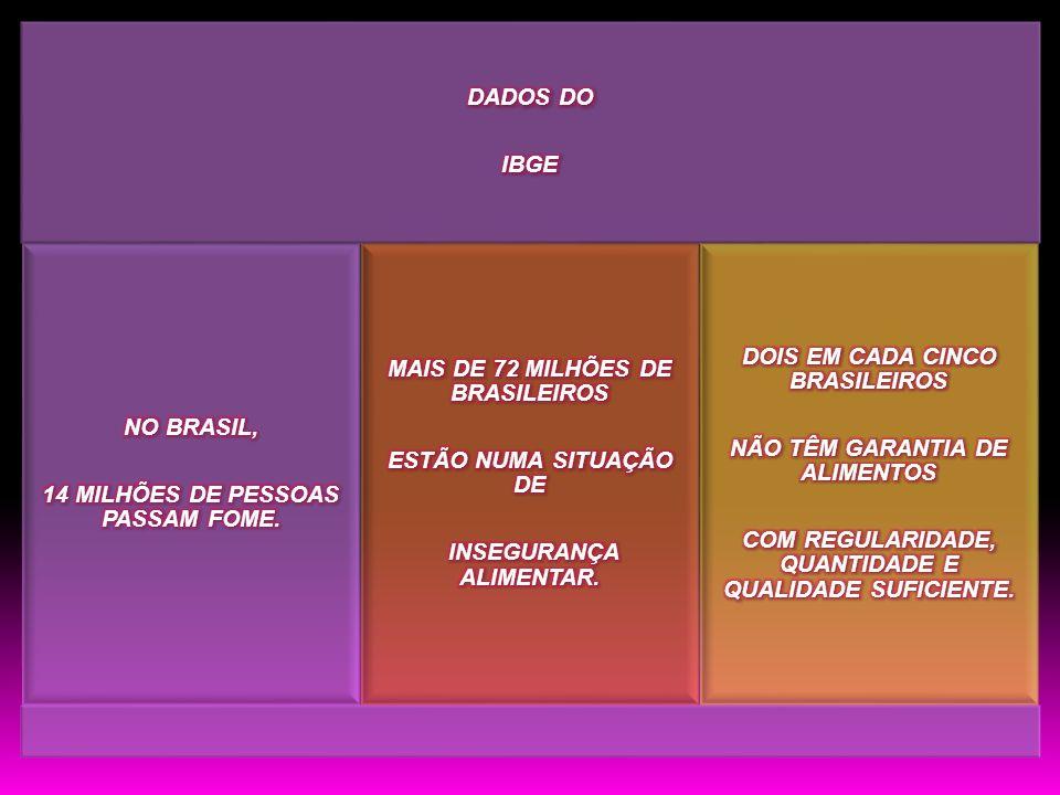 14 MILHÕES DE PESSOAS PASSAM FOME. MAIS DE 72 MILHÕES DE BRASILEIROS
