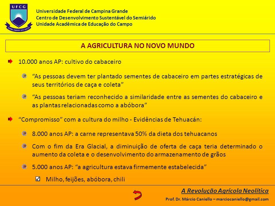 A AGRICULTURA NO NOVO MUNDO
