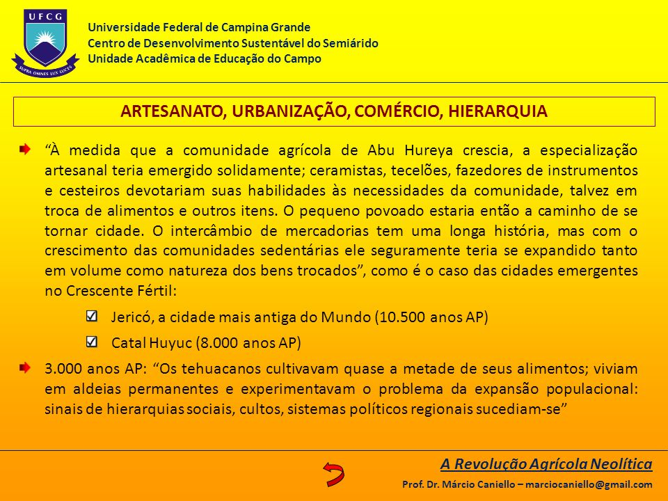 ARTESANATO, URBANIZAÇÃO, COMÉRCIO, HIERARQUIA