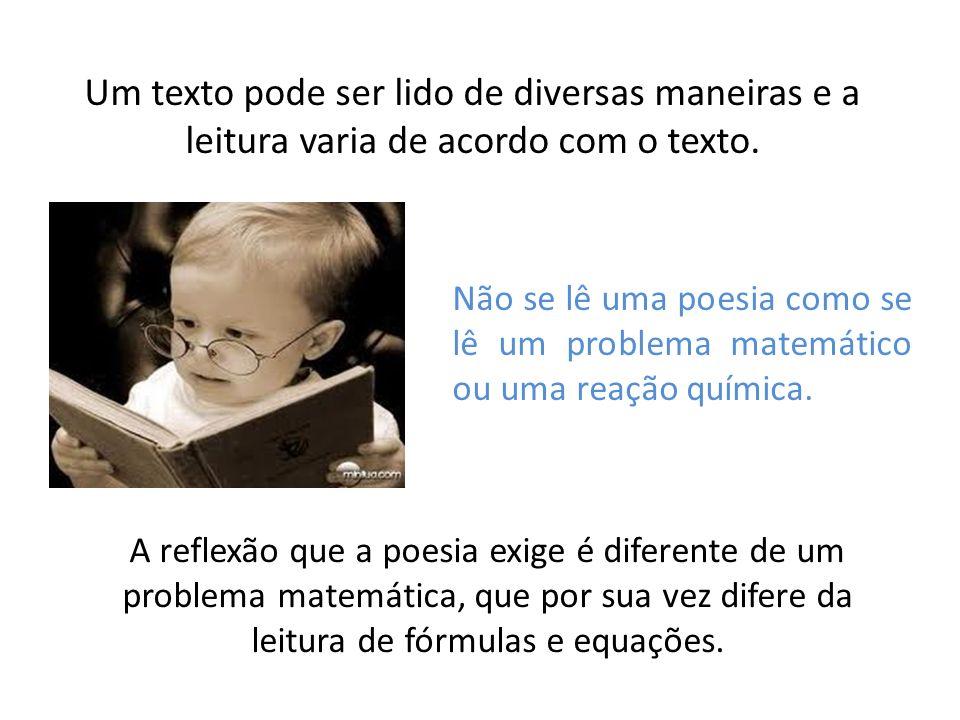 Um texto pode ser lido de diversas maneiras e a leitura varia de acordo com o texto.