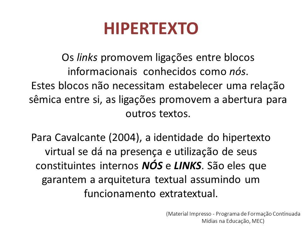 HIPERTEXTO Os links promovem ligações entre blocos informacionais conhecidos como nós.