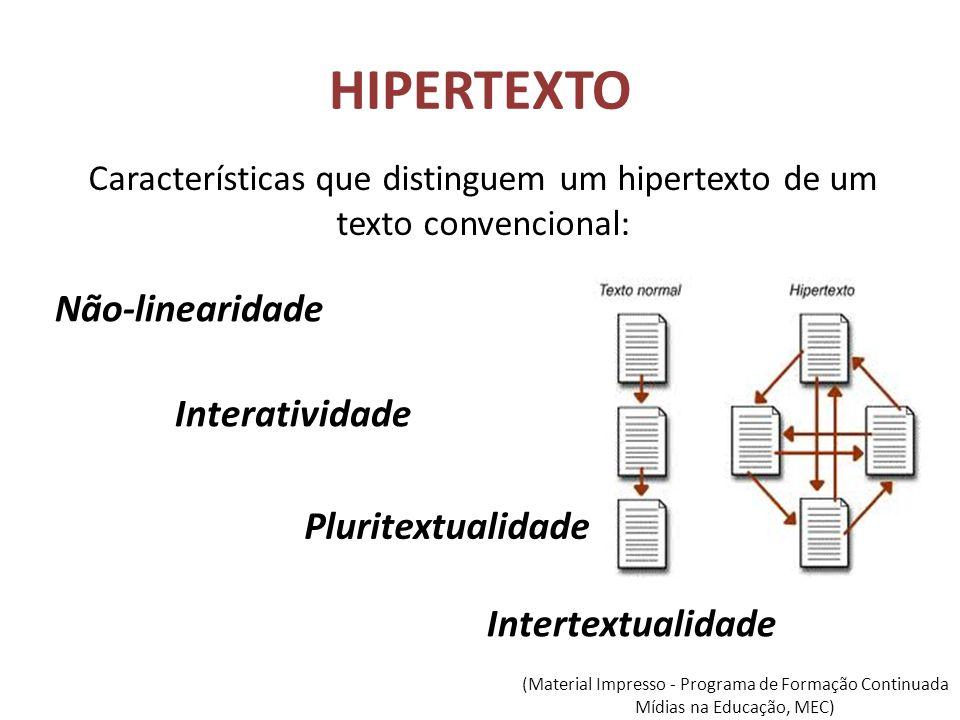 Características que distinguem um hipertexto de um texto convencional: