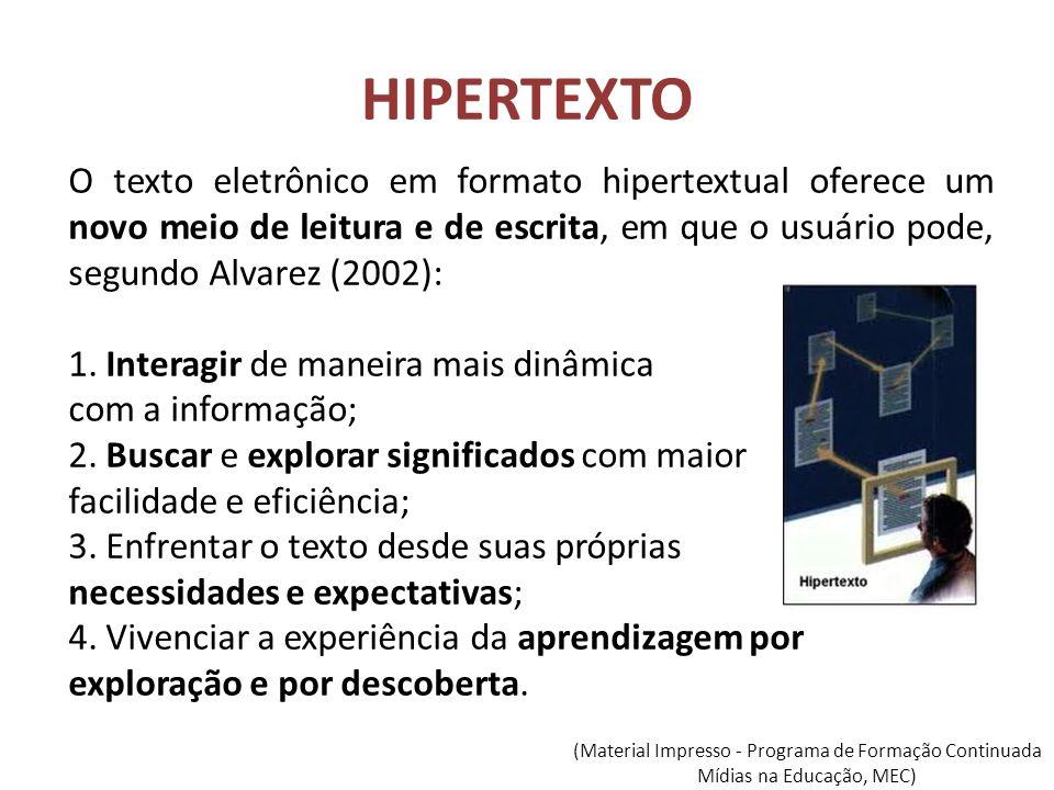 HIPERTEXTO O texto eletrônico em formato hipertextual oferece um novo meio de leitura e de escrita, em que o usuário pode, segundo Alvarez (2002):
