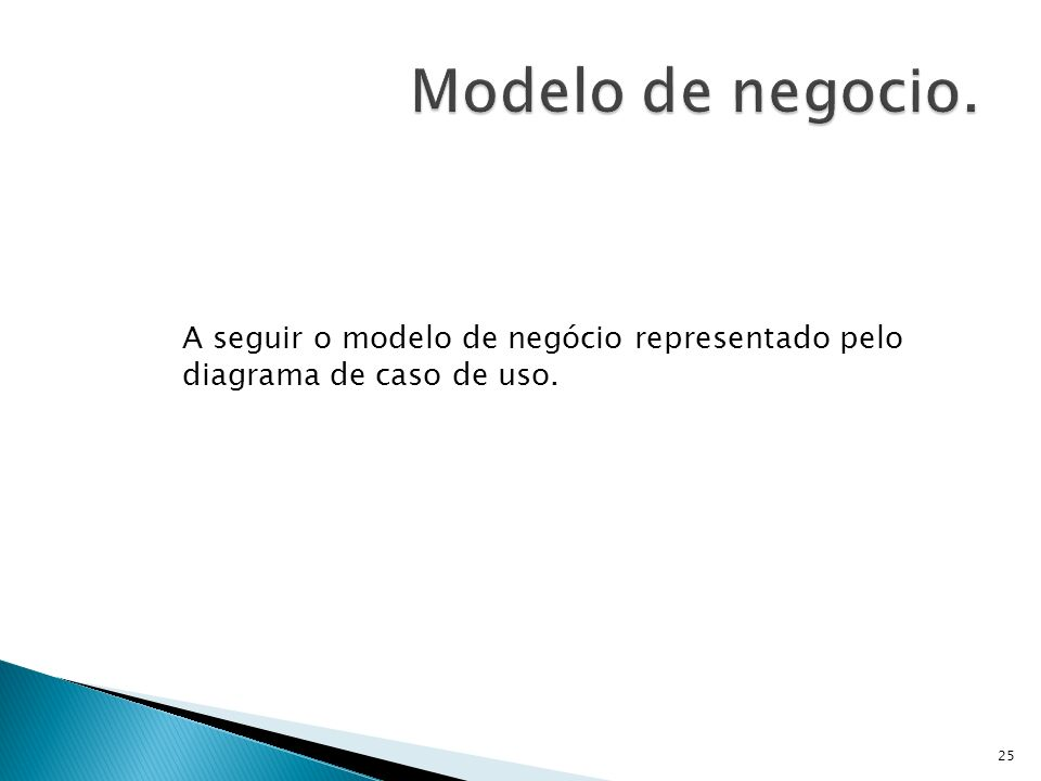 Modelo de negocio. A seguir o modelo de negócio representado pelo