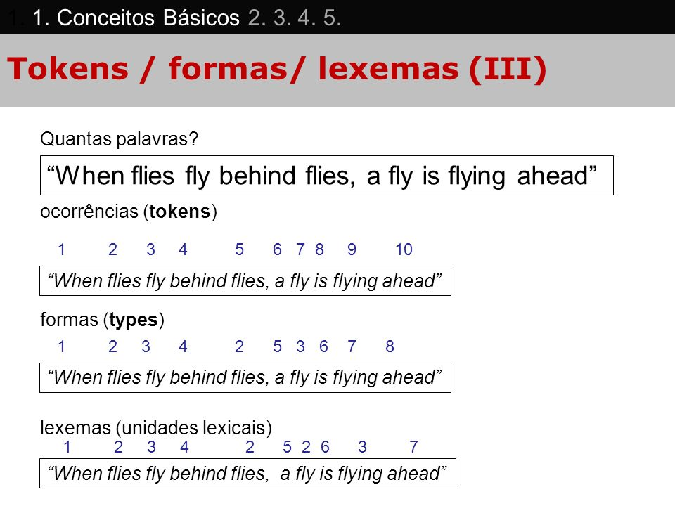Tokens / formas/ lexemas (III)