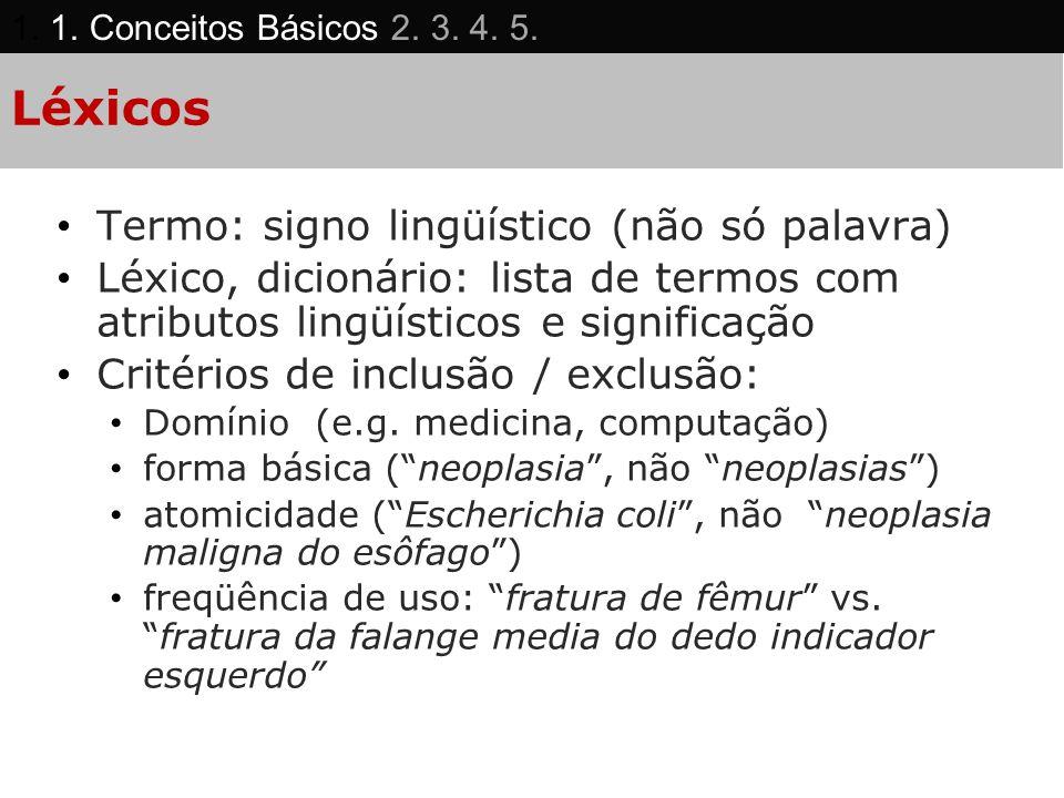 Léxicos Termo: signo lingüístico (não só palavra)