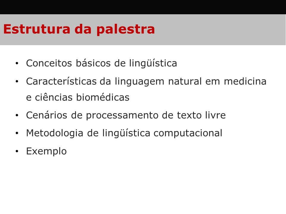 Estrutura da palestra Conceitos básicos de lingüística