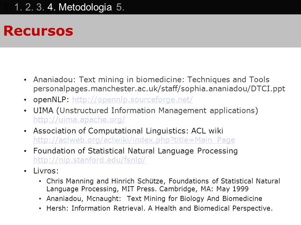 1. 1. 2. 3. 4. Metodologia 5. Recursos.