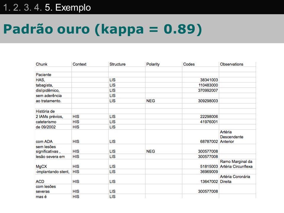 1. 2. 3. 4. 5. Exemplo Padrão ouro (kappa = 0.89) 61 61