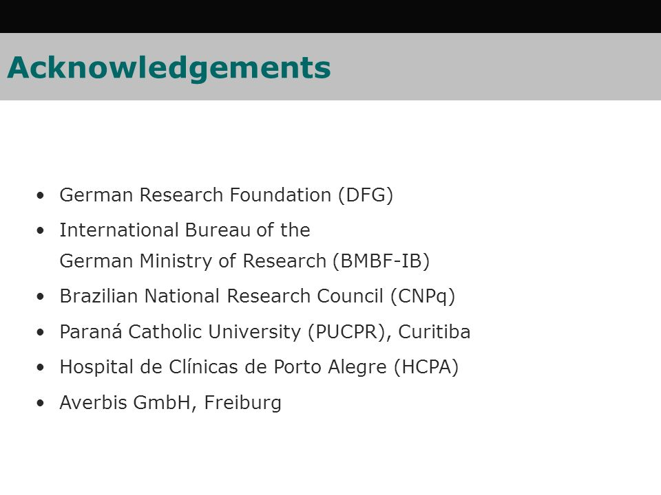 Acknowledgements German Research Foundation (DFG)