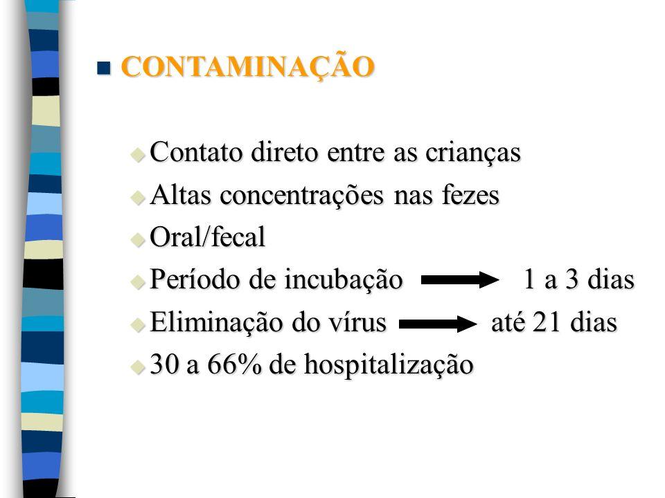 CONTAMINAÇÃO Contato direto entre as crianças. Altas concentrações nas fezes. Oral/fecal. Período de incubação 1 a 3 dias.