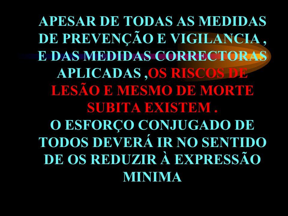 APESAR DE TODAS AS MEDIDAS DE PREVENÇÃO E VIGILANCIA , E DAS MEDIDAS CORRECTORAS APLICADAS ,OS RISCOS DE LESÃO E MESMO DE MORTE SUBITA EXISTEM .