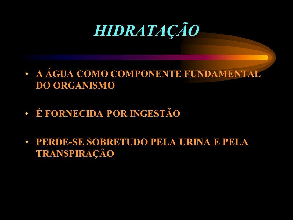 HIDRATAÇÃO A ÁGUA COMO COMPONENTE FUNDAMENTAL DO ORGANISMO