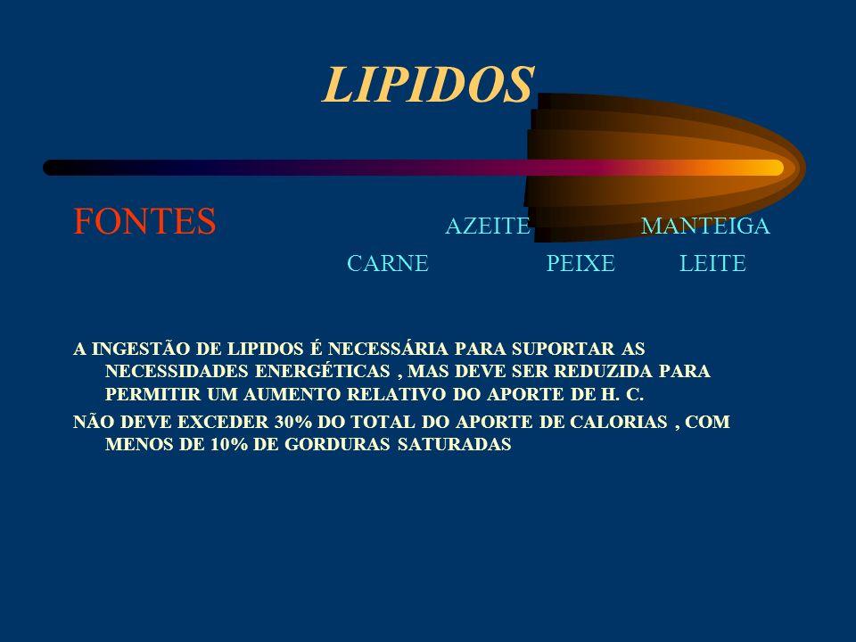 LIPIDOS FONTES AZEITE MANTEIGA CARNE PEIXE LEITE