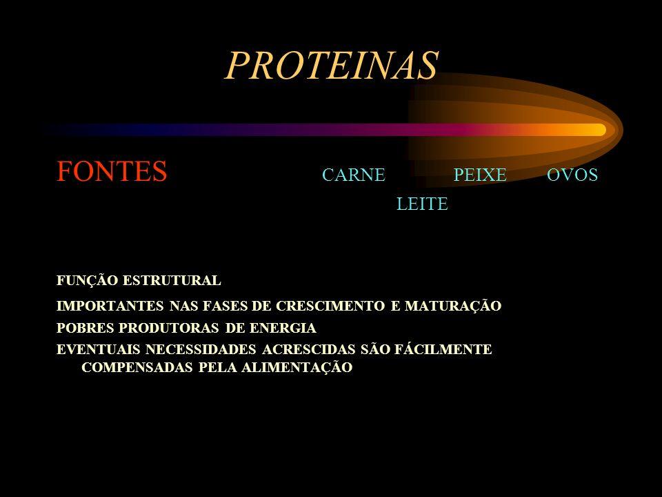 PROTEINAS FONTES CARNE PEIXE OVOS LEITE FUNÇÃO ESTRUTURAL