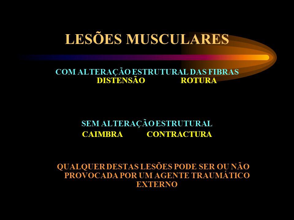 LESÕES MUSCULARES COM ALTERAÇÃO ESTRUTURAL DAS FIBRAS DISTENSÃO ROTURA