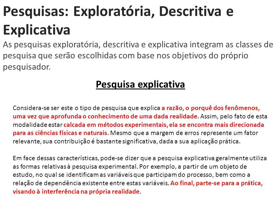 Pesquisas: Exploratória, Descritiva e Explicativa