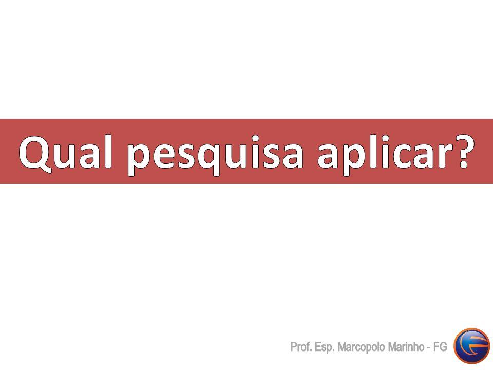 Qual pesquisa aplicar Prof. Esp. Marcopolo Marinho - FG