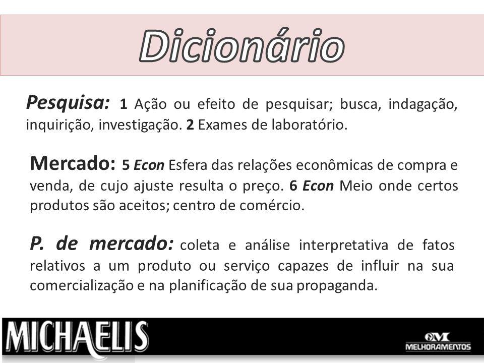 Dicionário Pesquisa: 1 Ação ou efeito de pesquisar; busca, indagação, inquirição, investigação. 2 Exames de laboratório.