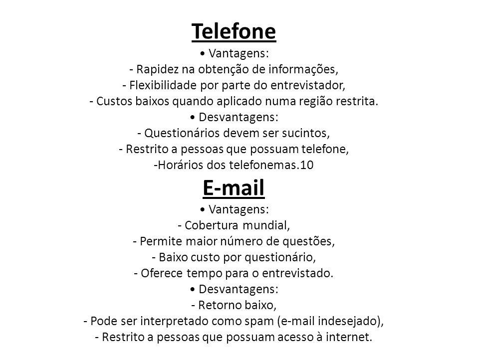 Telefone E-mail • Vantagens: - Rapidez na obtenção de informações,