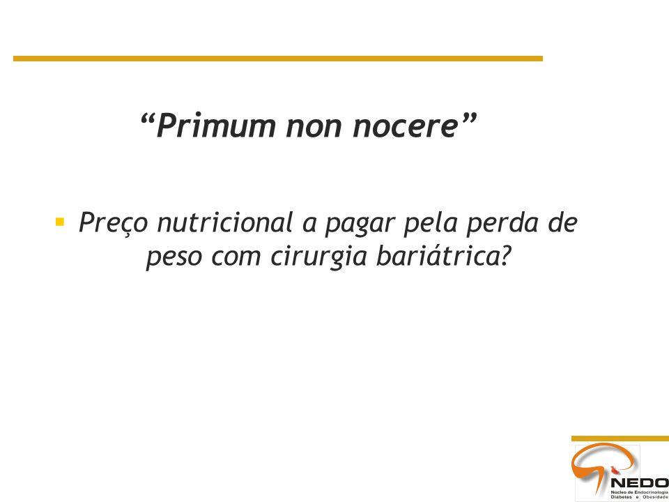 Preço nutricional a pagar pela perda de peso com cirurgia bariátrica