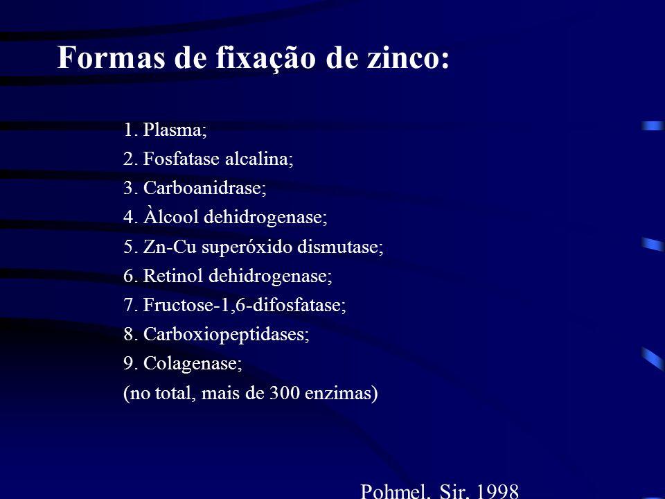 Formas de fixação de zinco: