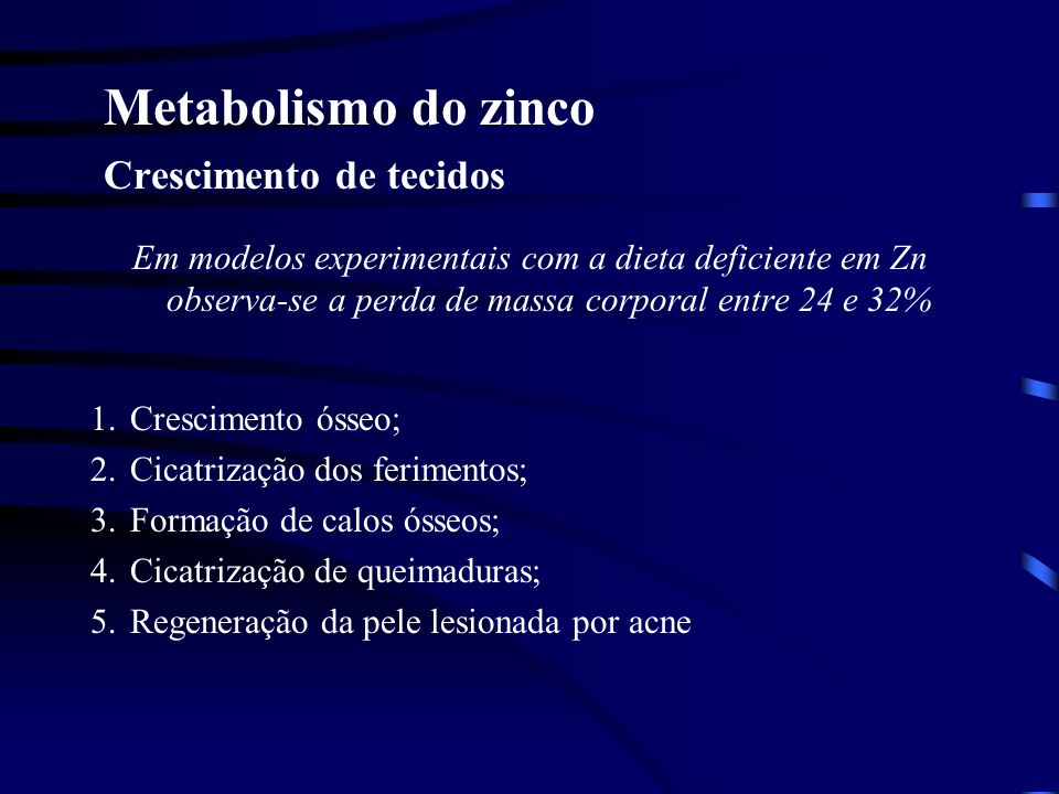 Metabolismo do zinco Crescimento de tecidos