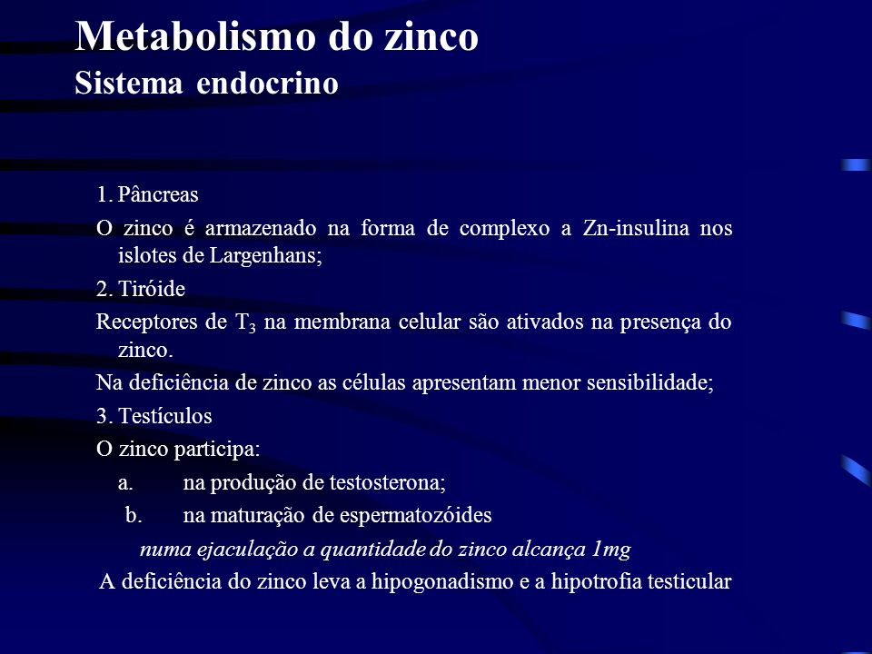 Metabolismo do zinco Sistema endocrino