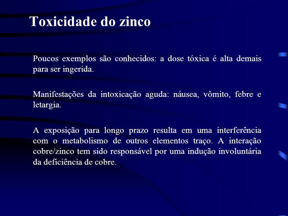 Toxicidade do zinco Poucos exemplos são conhecidos: a dose tóxica é alta demais para ser ingerida.