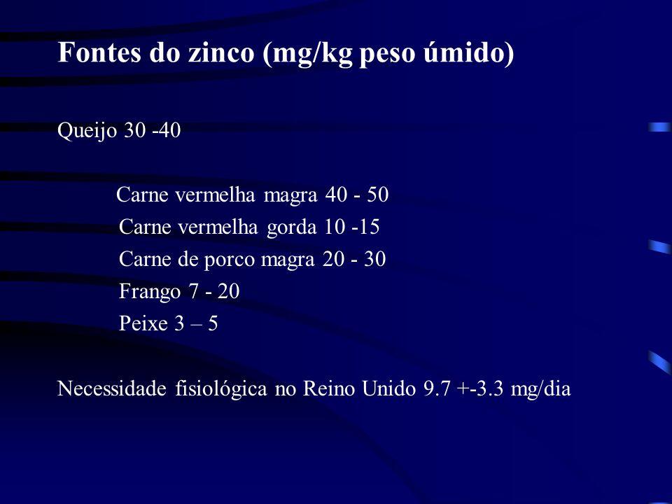 Fontes do zinco (mg/kg peso úmido)