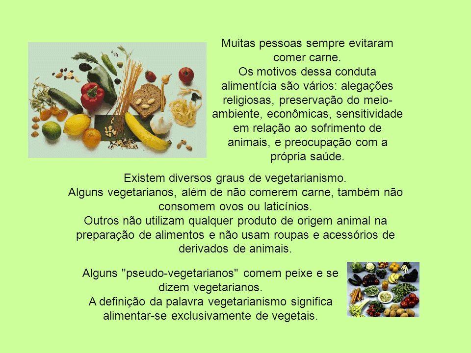 Muitas pessoas sempre evitaram comer carne.