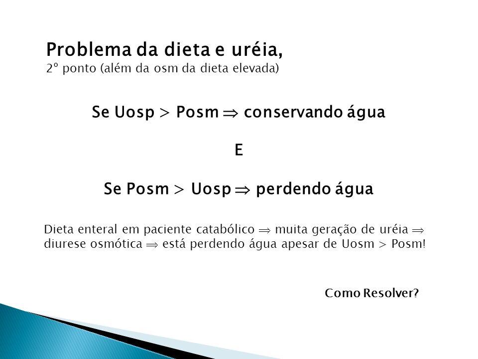Se Uosp > Posm  conservando água Se Posm > Uosp  perdendo água