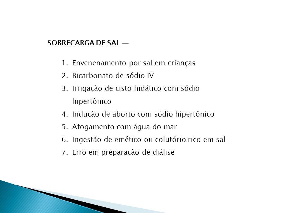 SOBRECARGA DE SAL — Envenenamento por sal em crianças. Bicarbonato de sódio IV. Irrigação de cisto hidático com sódio hipertônico.
