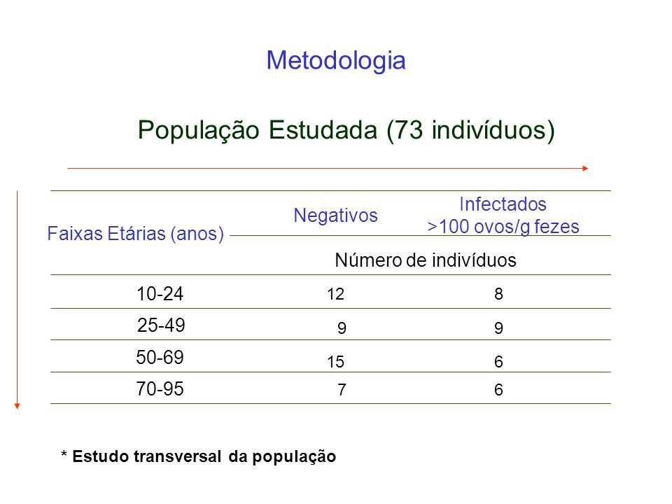 * Estudo transversal da população