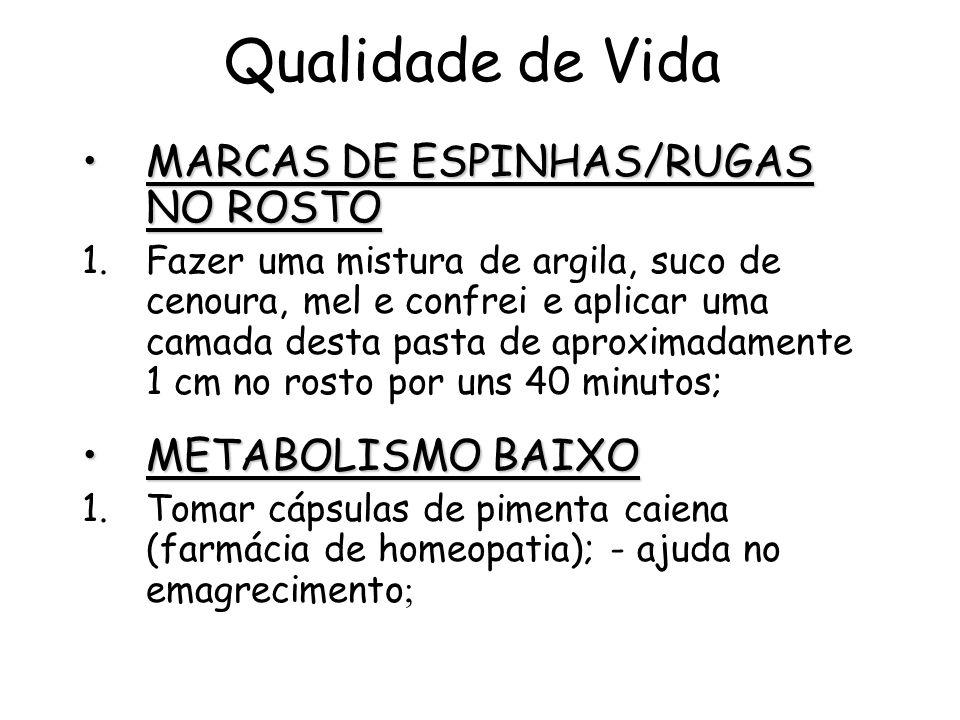 Qualidade de Vida MARCAS DE ESPINHAS/RUGAS NO ROSTO METABOLISMO BAIXO