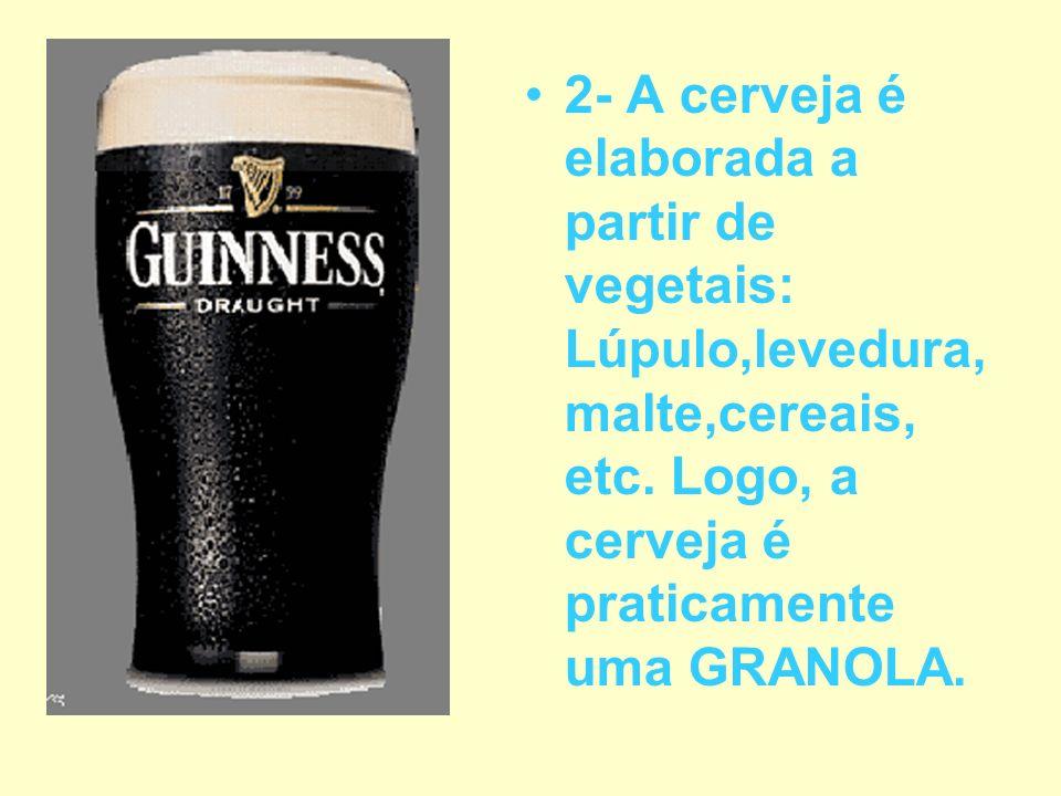2- A cerveja é elaborada a partir de vegetais: Lúpulo,levedura,malte,cereais, etc.