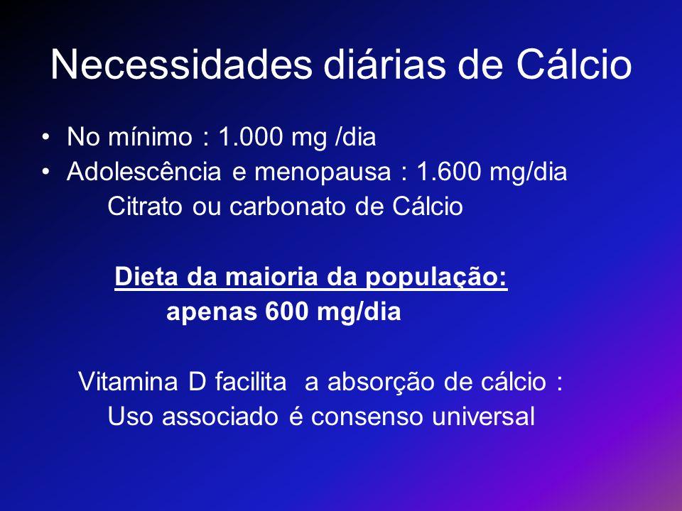 Necessidades diárias de Cálcio