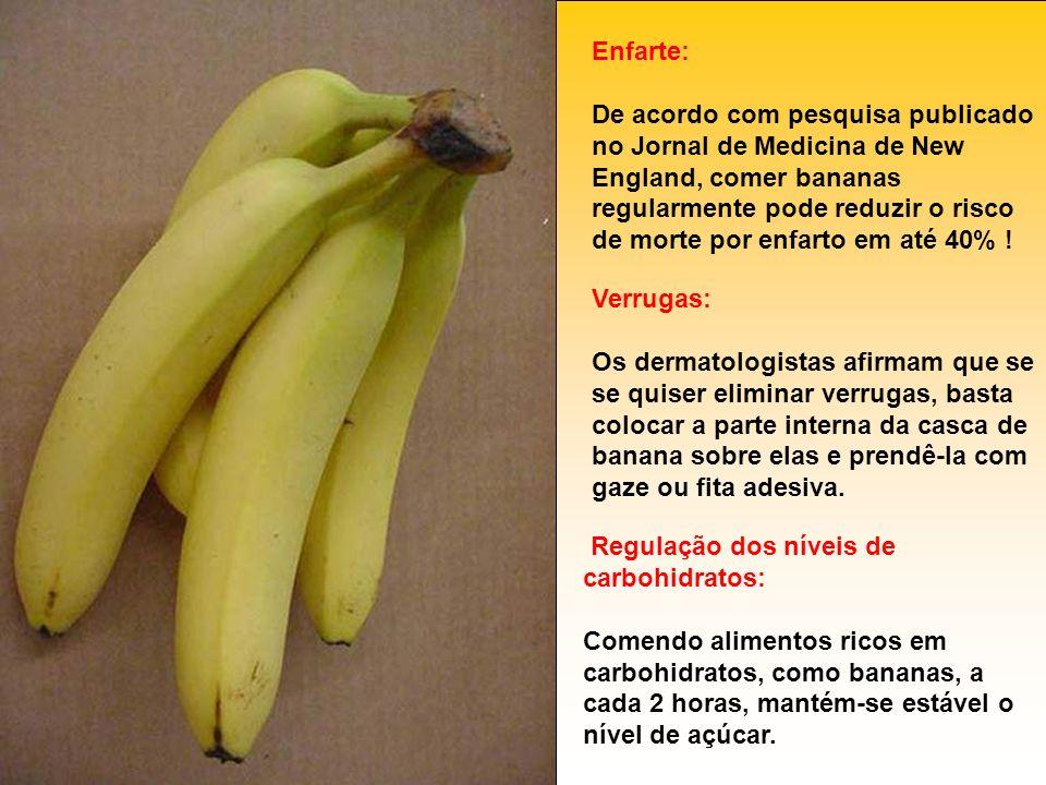Enfarte: De acordo com pesquisa publicado no Jornal de Medicina de New England, comer bananas regularmente pode reduzir o risco de morte por enfarto em até 40% !