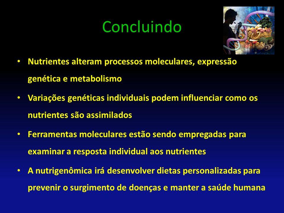Concluindo Nutrientes alteram processos moleculares, expressão genética e metabolismo.