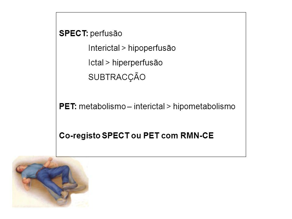 SPECT: perfusão Interictal > hipoperfusão. Ictal > hiperperfusão. SUBTRACÇÃO. PET: metabolismo – interictal > hipometabolismo.