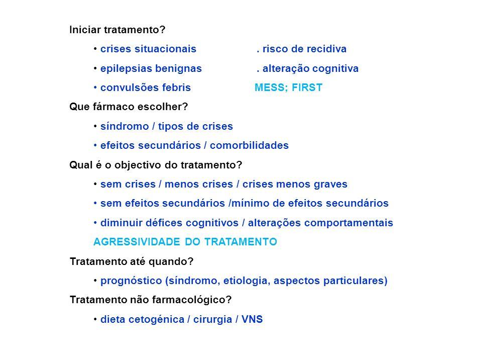 Iniciar tratamento crises situacionais . risco de recidiva. epilepsias benignas . alteração cognitiva.