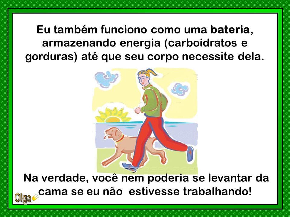 Eu também funciono como uma bateria, armazenando energia (carboidratos e gorduras) até que seu corpo necessite dela.