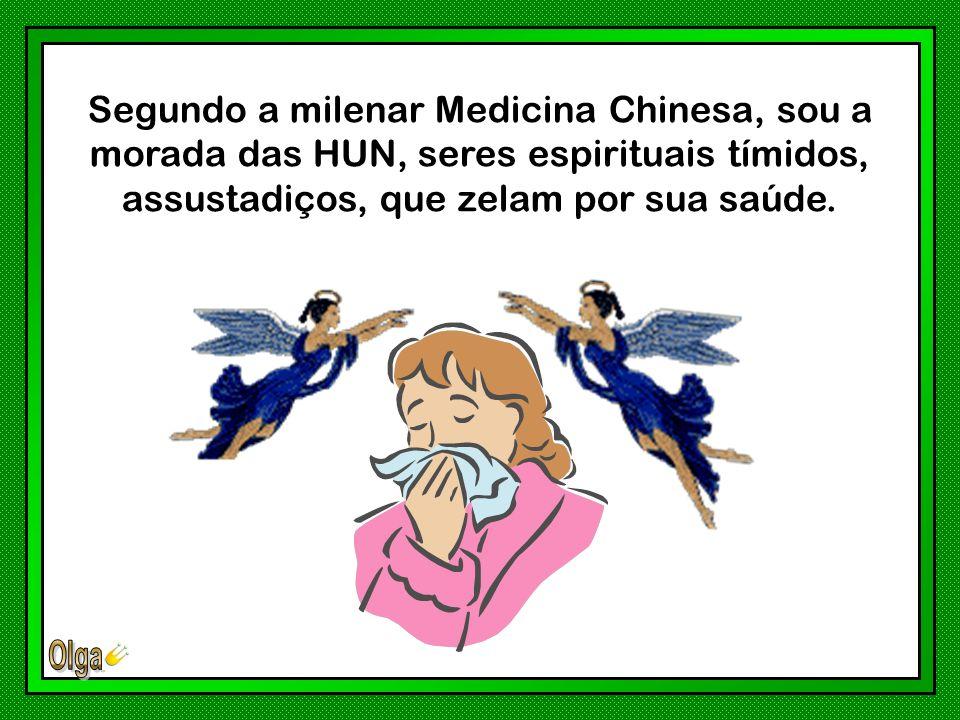 Segundo a milenar Medicina Chinesa, sou a morada das HUN, seres espirituais tímidos, assustadiços, que zelam por sua saúde.