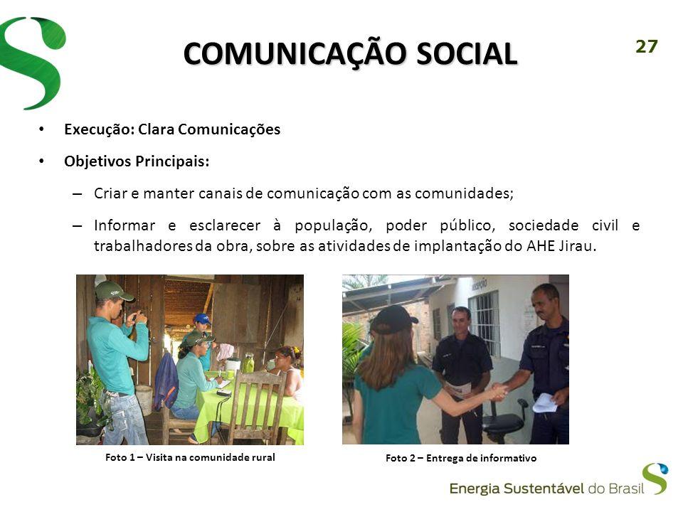 Foto 1 – Visita na comunidade rural Foto 2 – Entrega de informativo