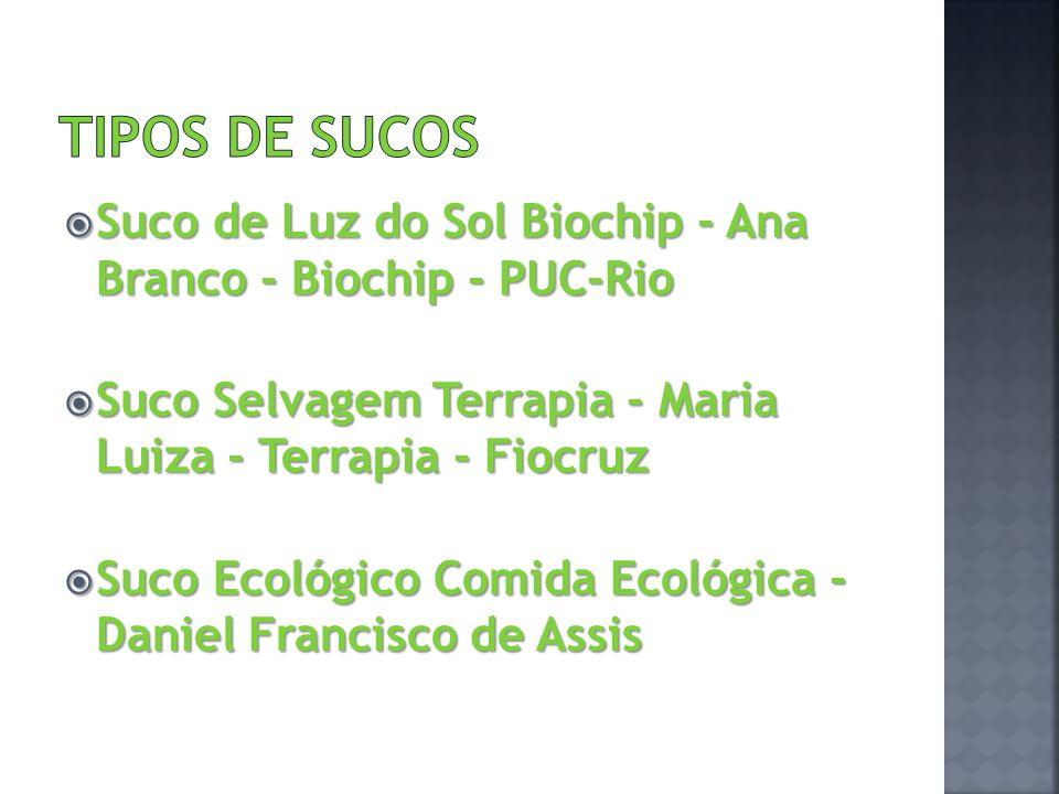 TIPOS DE SUCOS Suco de Luz do Sol Biochip - Ana Branco - Biochip - PUC-Rio. Suco Selvagem Terrapia - Maria Luiza - Terrapia - Fiocruz.