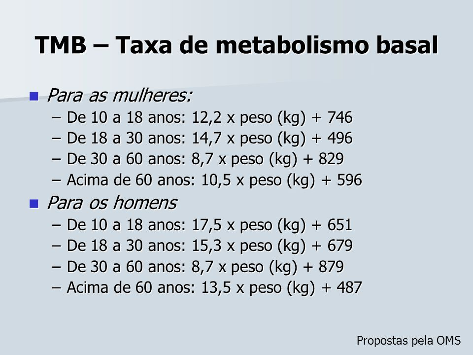 TMB – Taxa de metabolismo basal