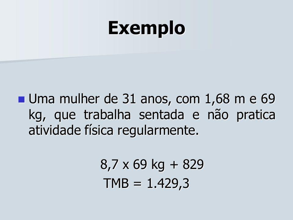 Exemplo Uma mulher de 31 anos, com 1,68 m e 69 kg, que trabalha sentada e não pratica atividade física regularmente.