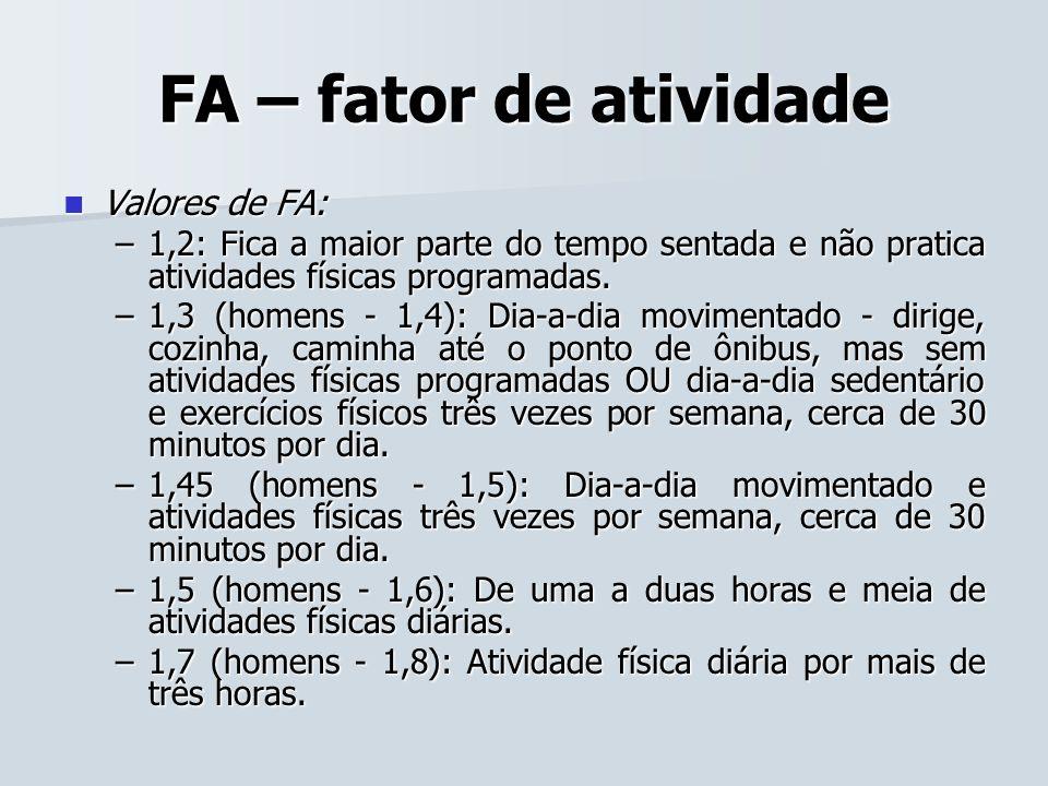 FA – fator de atividade Valores de FA: