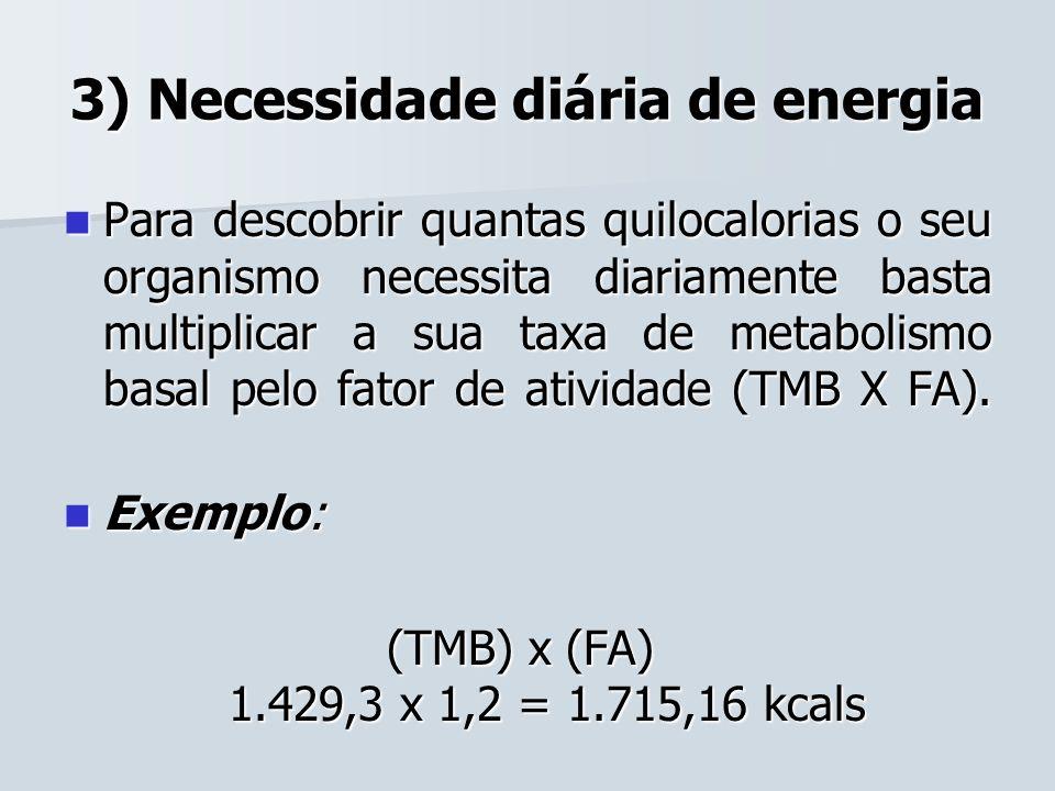 3) Necessidade diária de energia